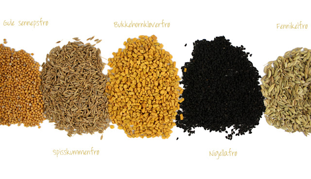 Oppskrift Indisk Orientalsk Kryddermiks Spisskummen Bukkehornkløver Nigellafrø Sennepsfrø Fennikelfrø