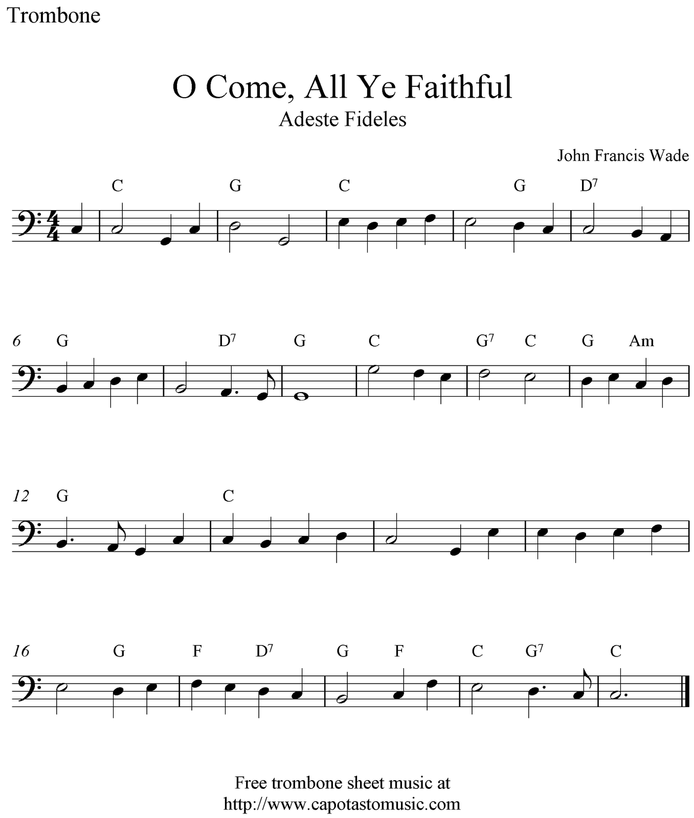 O Come, All Ye Faithful (Adeste Fideles), free Christmas trombone sheet music notes