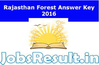 Rajasthan Forest Answer Key 2016