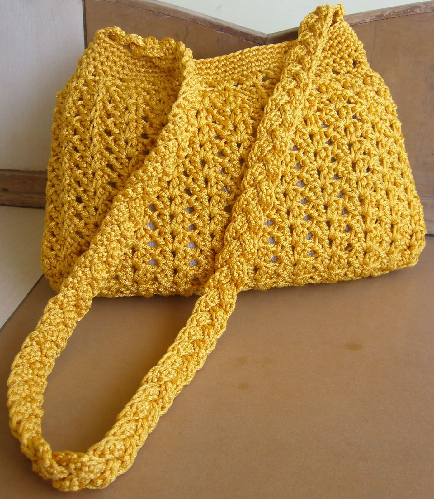 Golden yellow crochet hobo purse