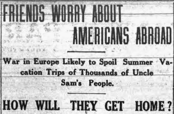 Headline of newspaper article: Friends worry about Americans abroad.