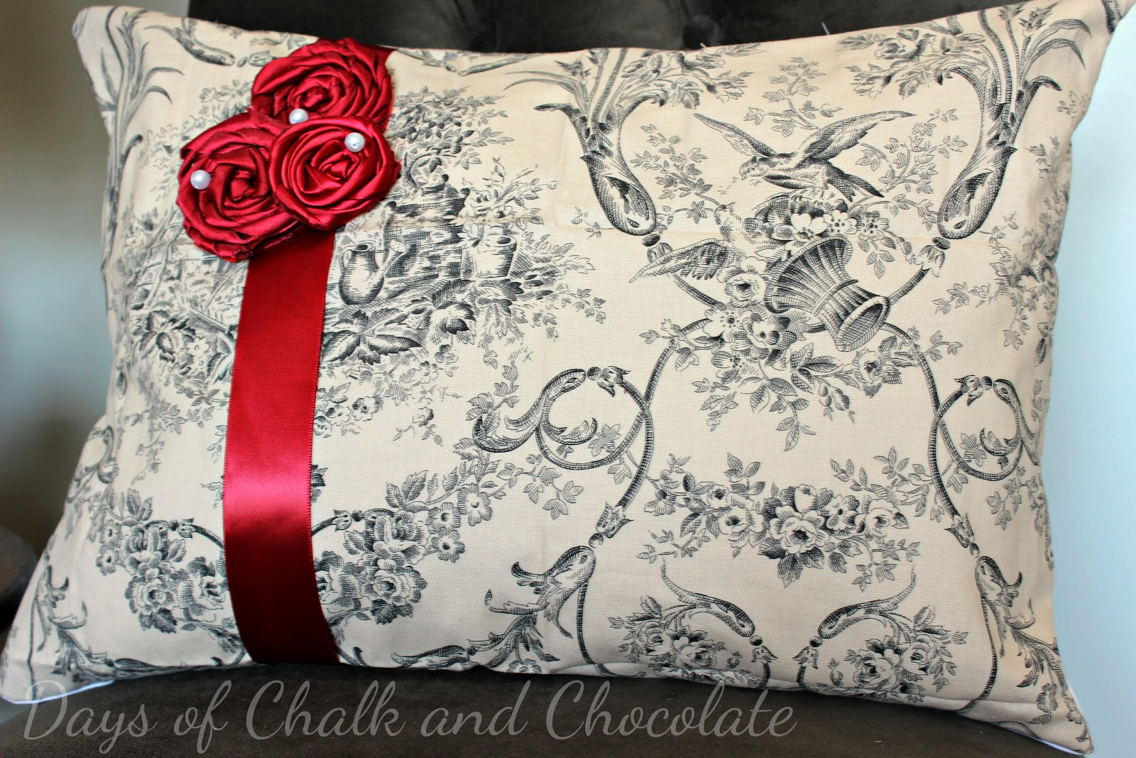 toile valentines day pillow