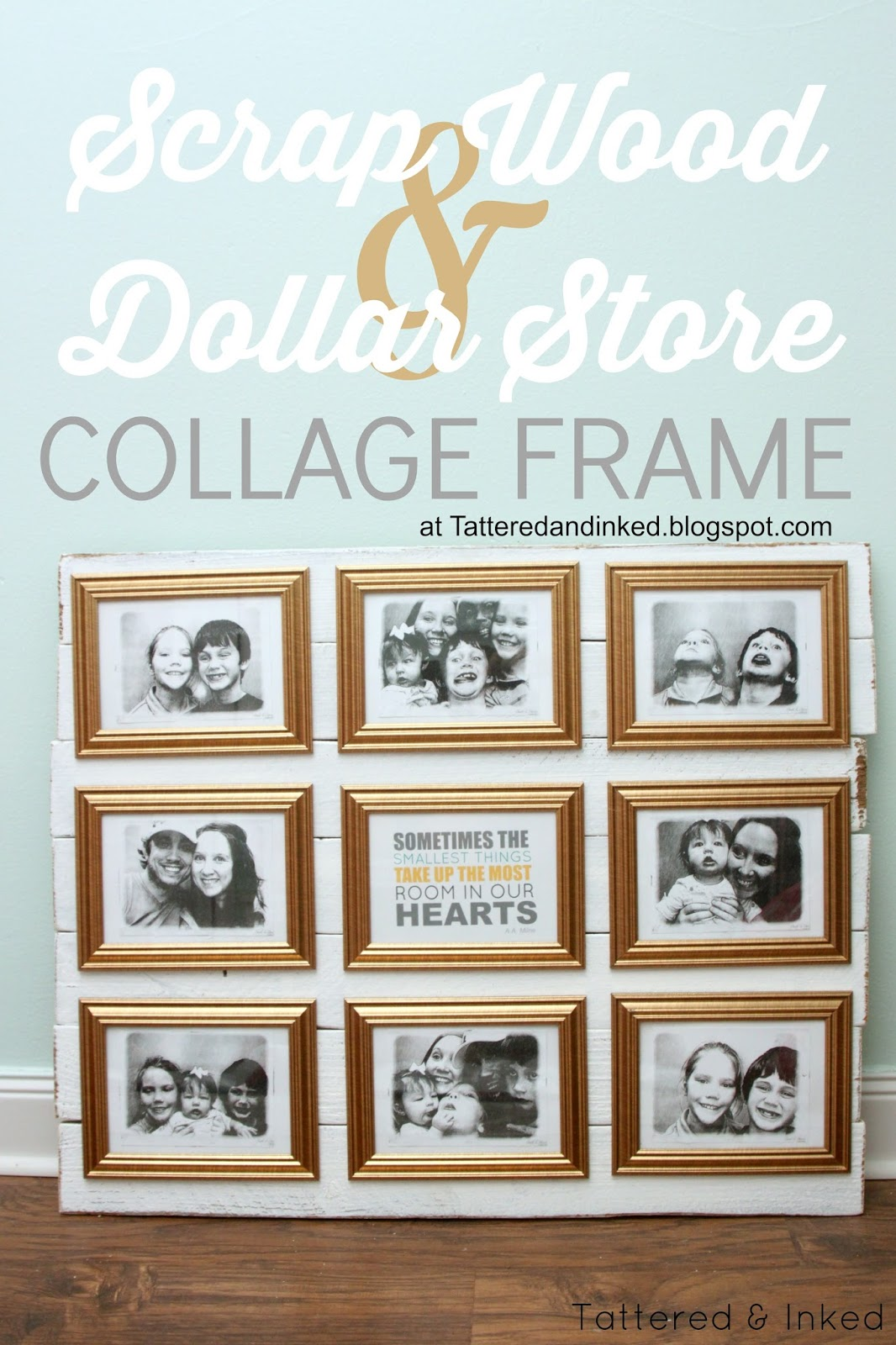 Tattered and Inked: Dollar Store & Scrap Wood Collage Frame