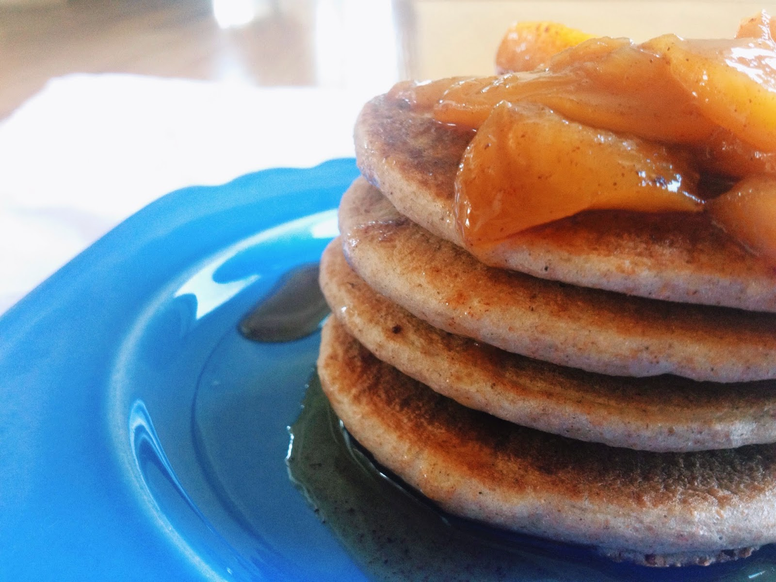 Cinnamon Pancakes with Peach Sauce