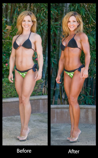 Attractive Before And After Spray Tanning!