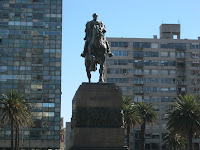 Independence square in montevideo Artigas sculpture