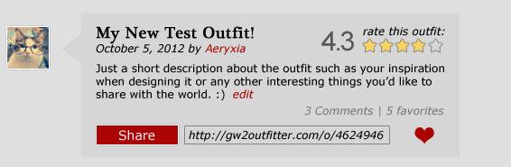 Guild Wars 2 Outfit rate share favorite comment description