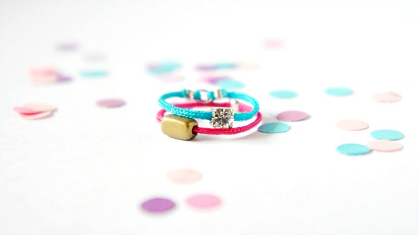 DIY Colored Stackable Rings, Beads, Rhinestones, Colored Cords