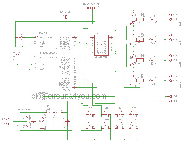 bluetooth based home automation  circuitsyou, circuit diagram