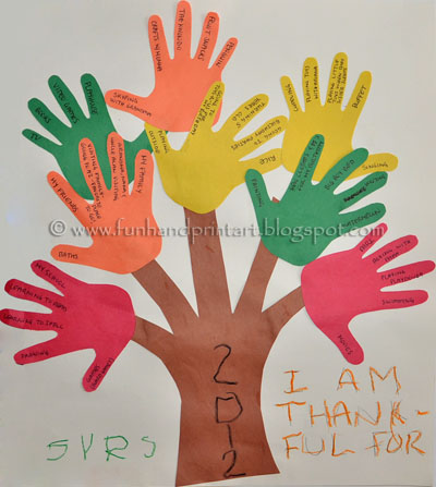 Handprint Tree, Tree of Thanks, Thanksgiving Kids Craft