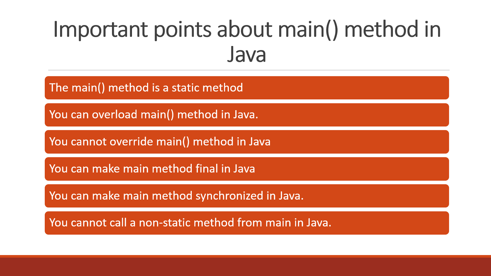 top java main method interview questions answers java 10 points about main method in java