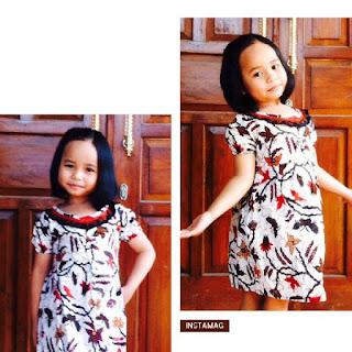 Dress Batik wanita anak kembang putih
