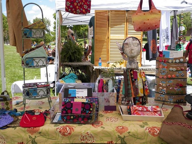 Setting up a craft fair booth