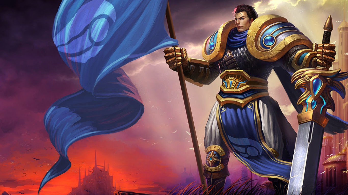 garen knight armor sword league of legends LoL champion game hd wallpaper 1366x768 c2.