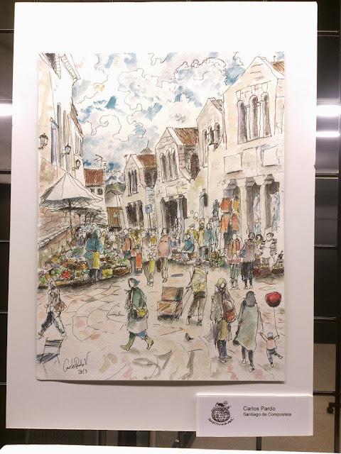 """Mercado de Abastos de Santiago de Compostela, Carlos Pardo 2013 32x24 cms técnica mixta sobre papel Canson 200gr"