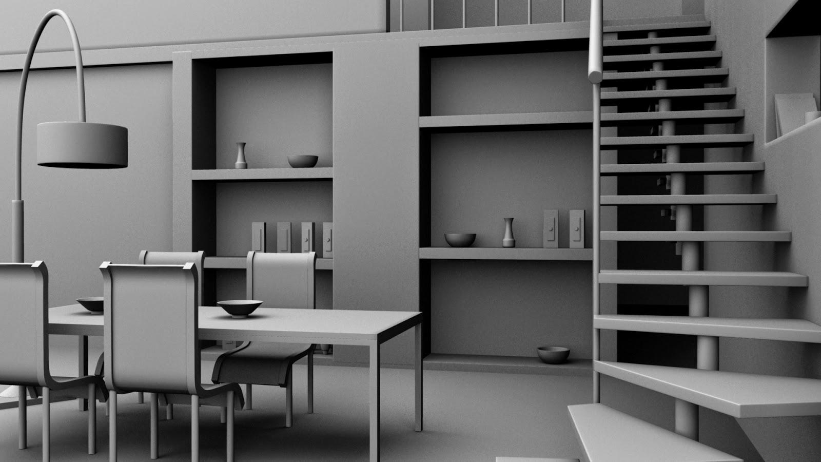 3d models in autodesk maya interior dining area