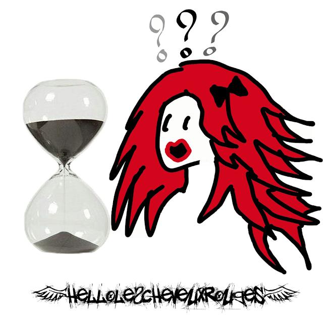 Illustration d'une fille aux cheveux rouges qui a peur et qui regarde un sablier