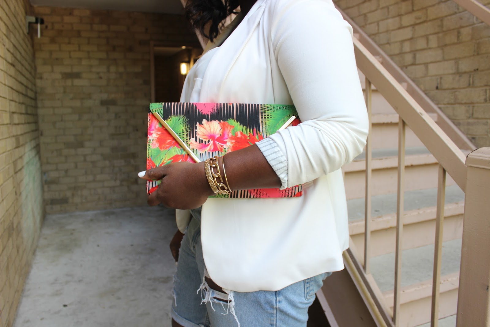 Aldo tropical floral envelope clutch