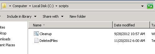 System Center 2012 SCOM Disk Cleanup Script Folder