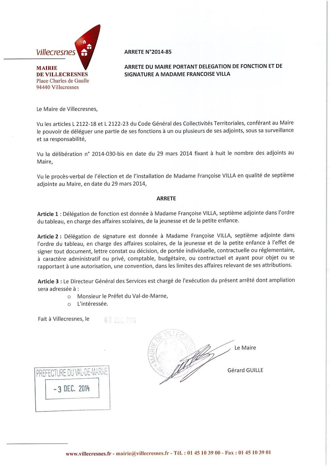 2014-085 Délégation de fonction et de signature à Madame Françoise Villa