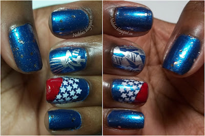 Nail stamping manicure in red white and blue with glitter, and stamped Independence Day themed designs