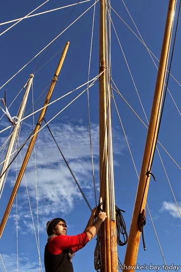 Raihania Tipoki, one of the kaihautu (captains) of Te Matau A Maui, a double hulled sailing waka moored at West Quay, Napier, preparing for a trip to Mahia this weekend, as part of Matariki celebrations photograph