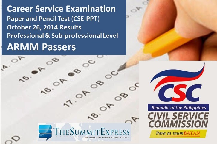 October 2014 Civil Service Exam Results out online December 9, 2014 ( ARMM)