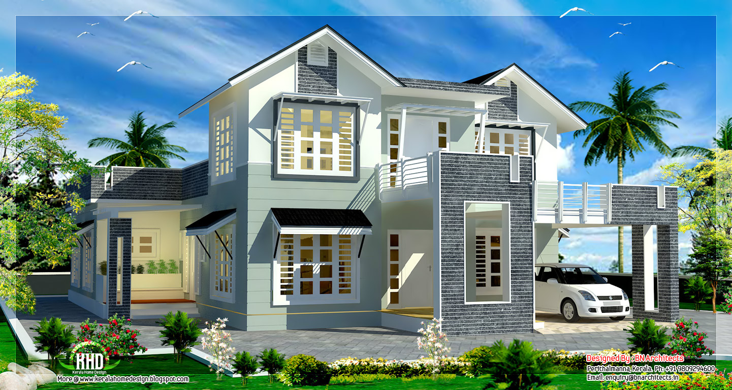 2800 square feet sloping roof 4 bedroom house kerala for Pics of home designs