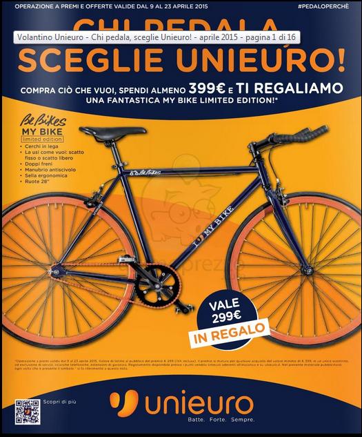 Dal 9 al 23 aprile la bici in regalo Offerte Volantino Unieuro