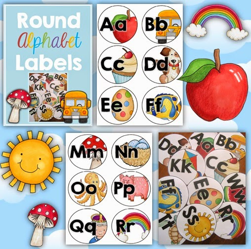 Alphabet Labels Round Style