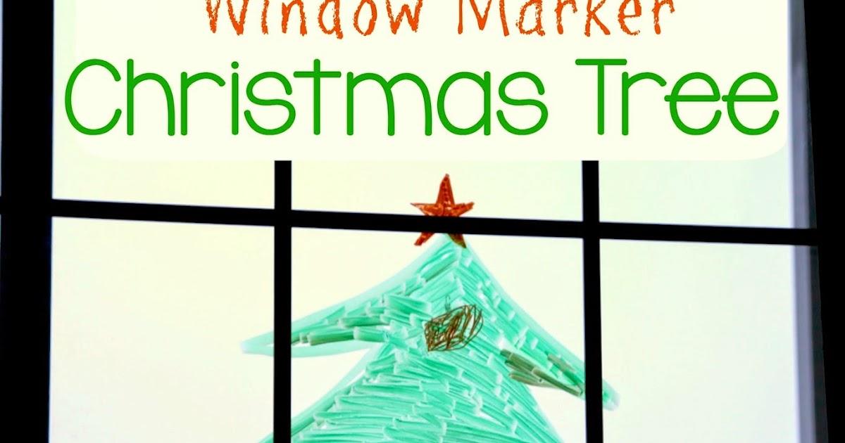 Window marker christmas tree for kids still playing school