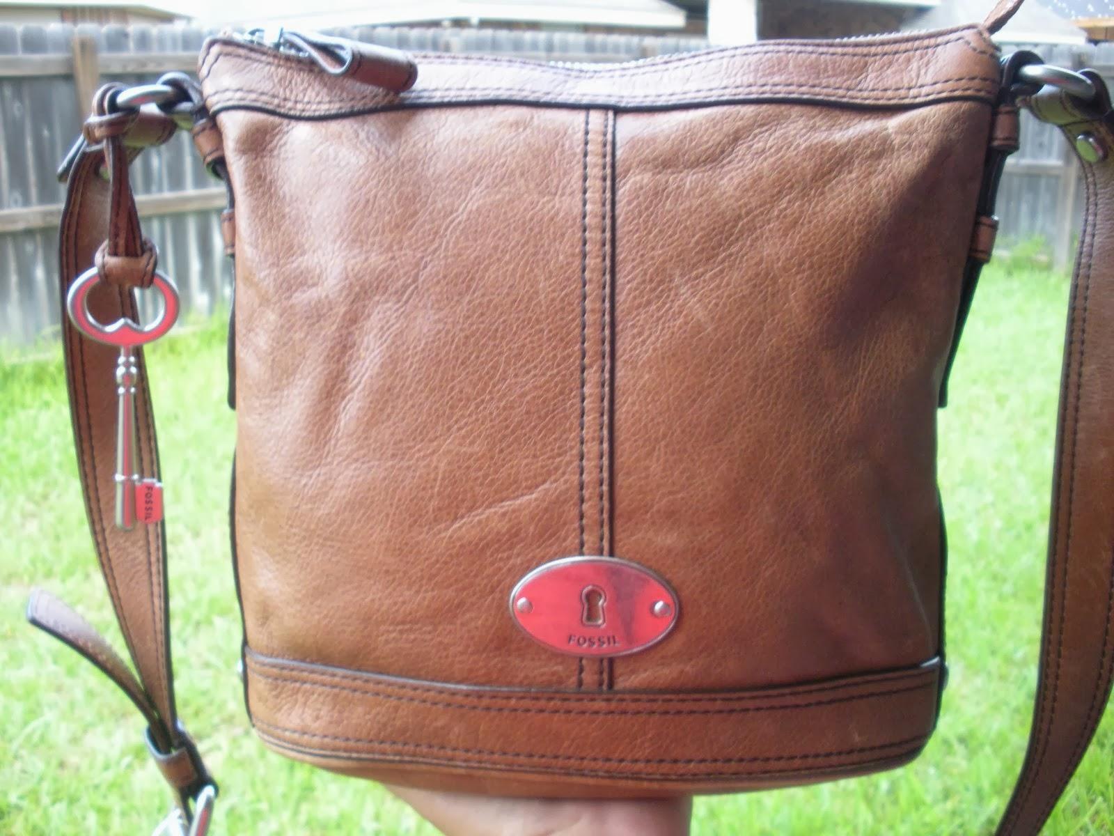 e6ae5f42be FOSSIL Caramel Tan Bucket Crossbody Shoulder Bag Purse Shopper Tote Satchel