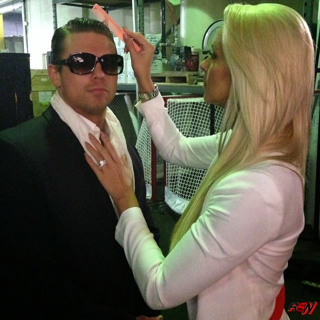 The Miz Backstage at RAW with Maryse.