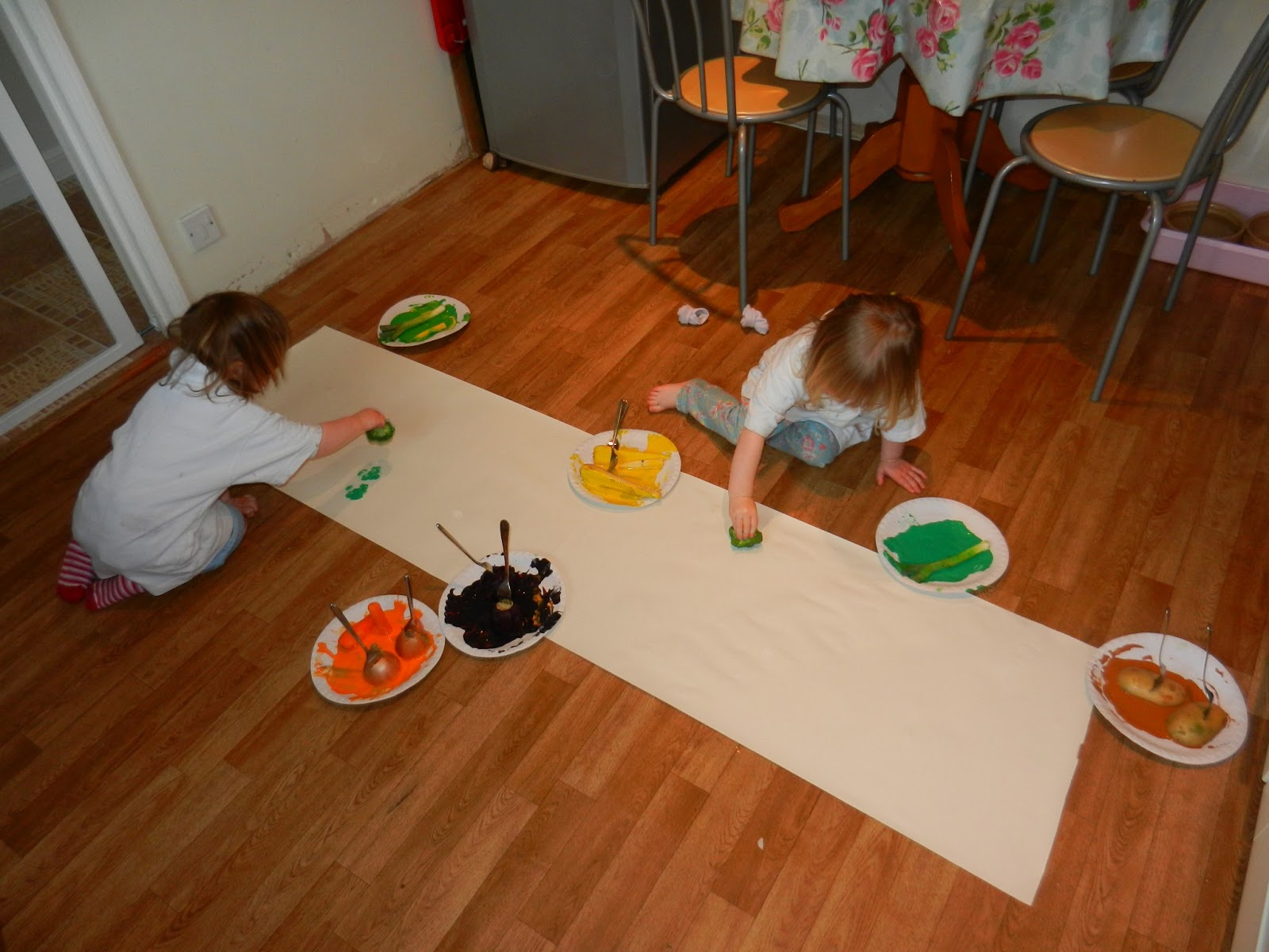 worms eye view painting with vegetables