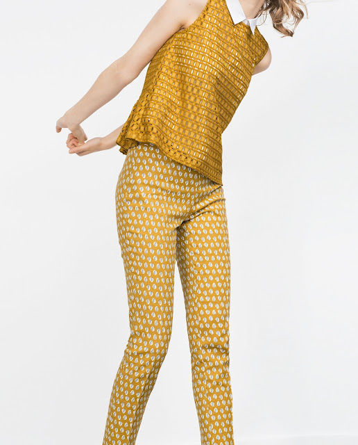 mustard print trousers, zara mustard trousers, feather print trousers, zara yellow trousers,