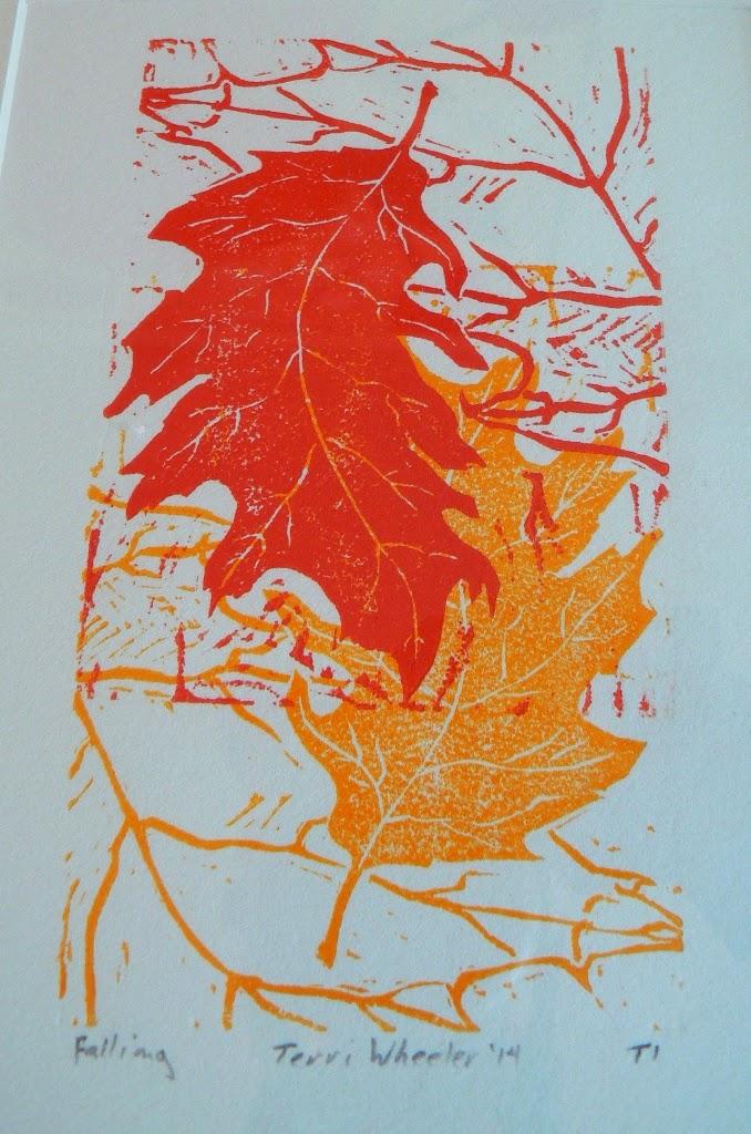 Falling by Terri Wheeler, Kansas City, multi-linocut impression