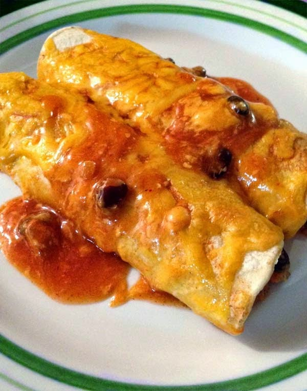 Simple Black Bean and Cheese Enchilada Recipe. Tasty Vegetarian Dish That Can Be Made In 30 Minutes Or Less.