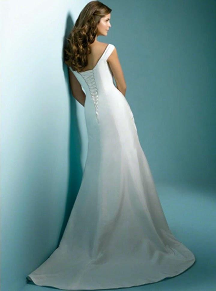 Vestido de Novia Escote V, con Tirantes y Pliegues Diagonales
