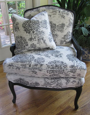 Superieur I Selected A Black And White Toile Fabric And Brought The Chair To My  Upholsterer And VOILA   Here Is The Finished Product. I Love The Crisp Look  And French ...