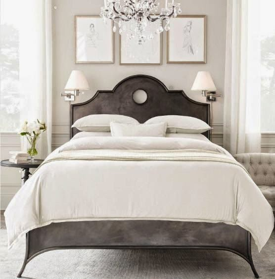 gray cream gold master bedroom upholstered bed in gray crystal chandelier