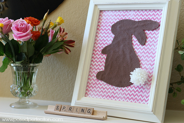 Use scrapbook paper to coordinate with your spring decor for this Pom-Pom Bunny Tail Picture.