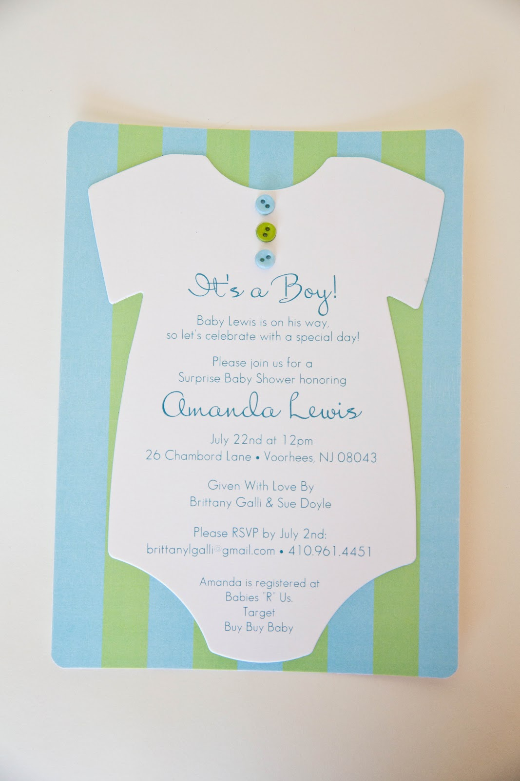 Onesie Baby Shower Invitation • Blue Green Baby Shower Invitation ...