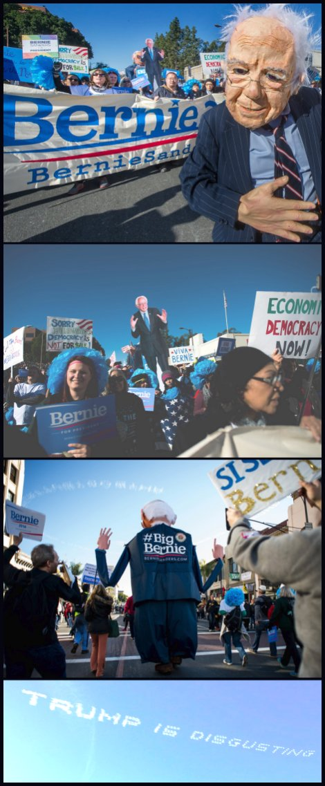 Awesome Bernie Sanders rally after the Rose Parade