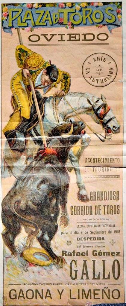CARTEL TOROS 0VIEDO 1918