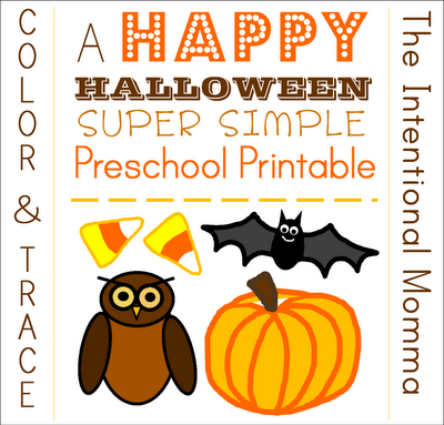 preschool homeschool lesson pumpkin owl easy simple bats candy corn color trace numbers