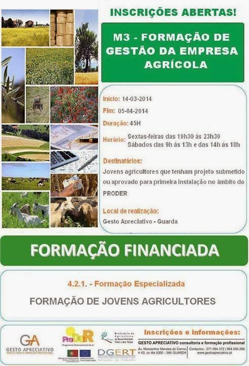 Formação gratuita para jovens agricultores (M3 Gestão da Empresa Agrícola) – Guarda