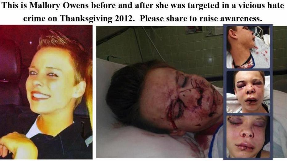 Mallory Owens, antes y después de ser brutalmente agredida la noche de Acción de gracias de 2012.