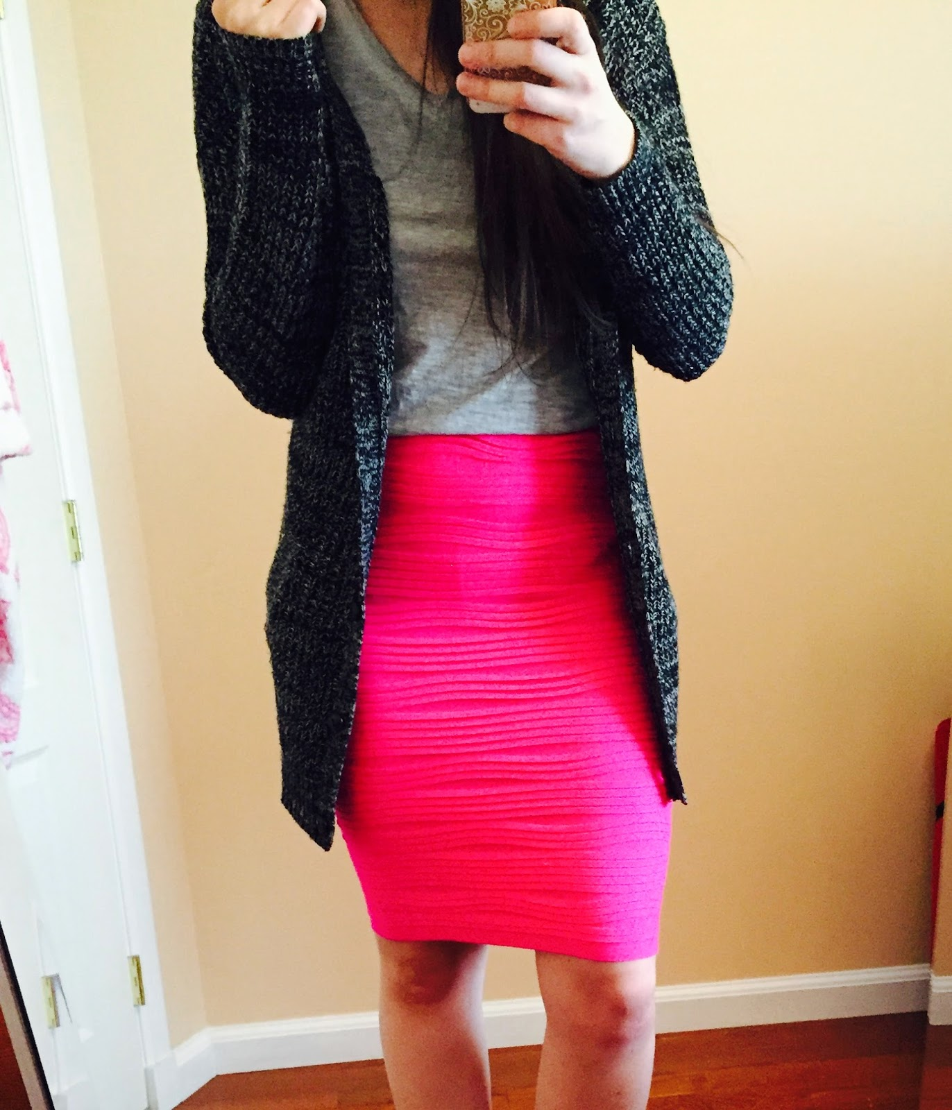 my sisters closet boutique, textured skirt, grey top, cardigan outfit,
