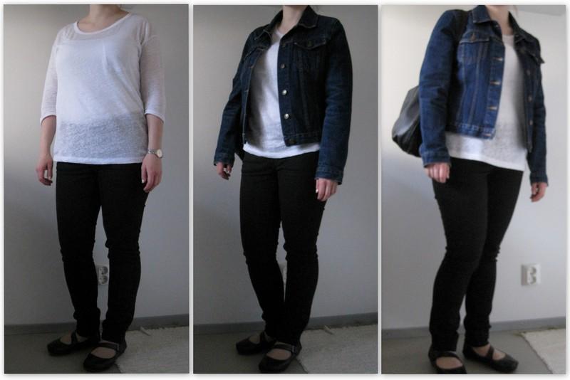 Ruskea laukku mustat kengät : A closet full of dresses balleriina ja farkkutakkikeli