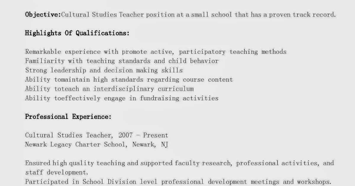 resume samples  cultural studies teacher resume sample